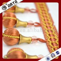 Orange Beaded Trimming Fringe With Wood Beads For Decorative Curtain Tapestry Sofa Garment Lampshades