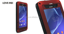 2014 LOVE MEI Metal Aluminum Gorilla Glass Case,bumper case for sony xperia z1.