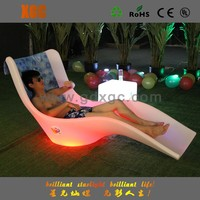 Waterproof Colors Changed Chaise Lounge LED plastic tube folding beach chair