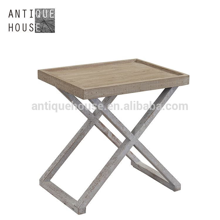 Vintage industrial furniture wooden end table small