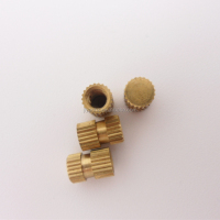 Metric self tapping threaded inserts silver tone brass