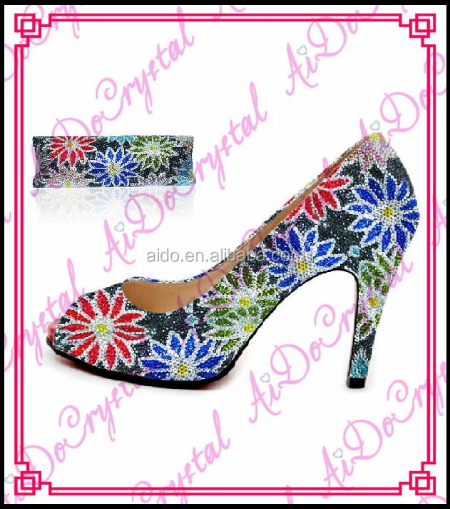 Aidocrystal blue and green floral crystal women medium heel party shoes and bags for wedding