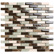 Hot Sale Italian Mixed Ceramic and Stone Brick Glass Mosaic Tile for Kitchen Splash Back