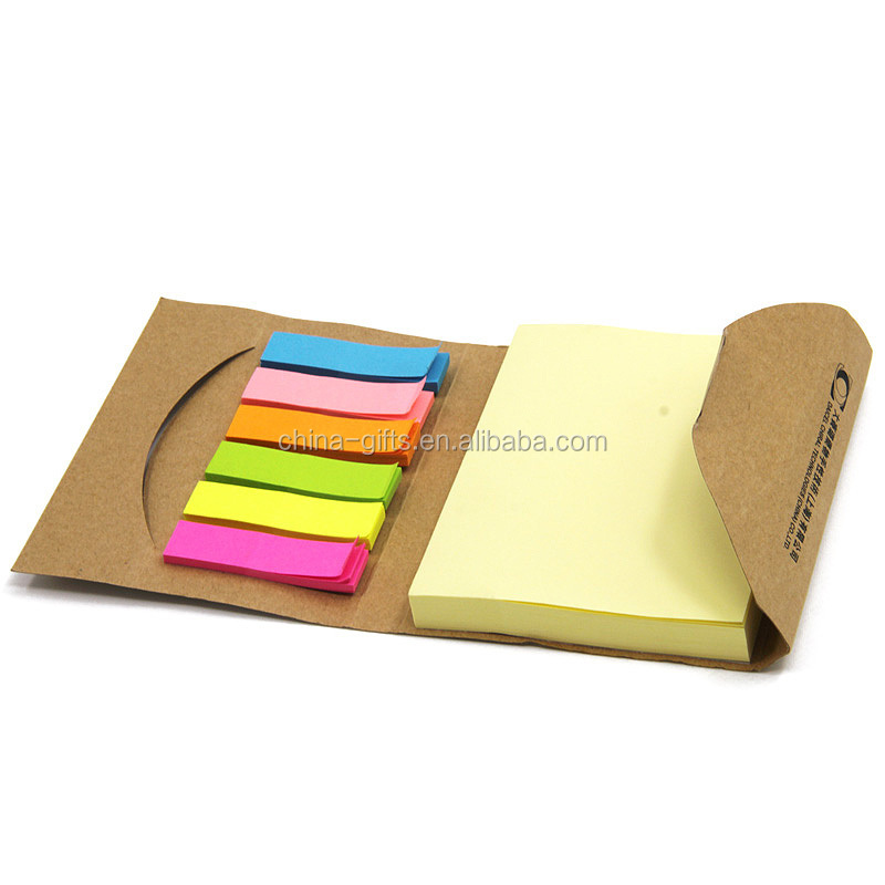 ECO kraft cover yellow sticky notepads with colorful flags