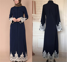 Wholesale New Arrival Elegant Women Abaya Dubai Jalabiya Lace Jilbab Maxi Dress Navy Turkish Abaya 2018