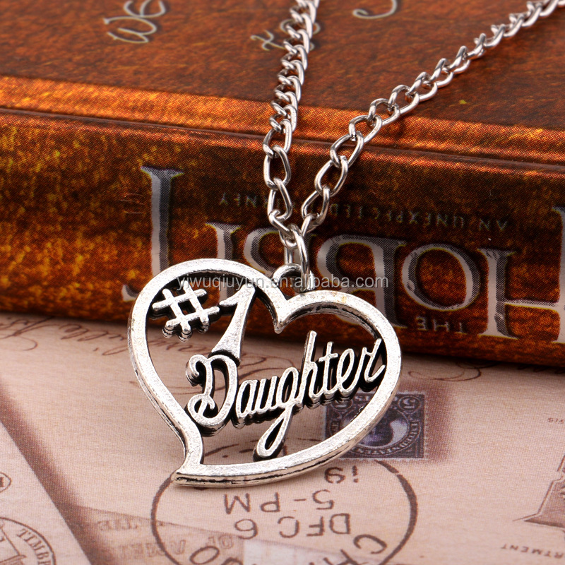 Hot Jewely New Arrival Vintage Style Daughter's Gifts NO. 1 Daughter Heart Pendant Necklace