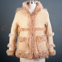 Real lamb fur & leather mouton suede coat