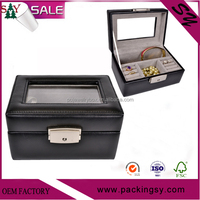 Personalised faux pu/pvc luxury black leather jewelry display cases/box manufacturers China for sale