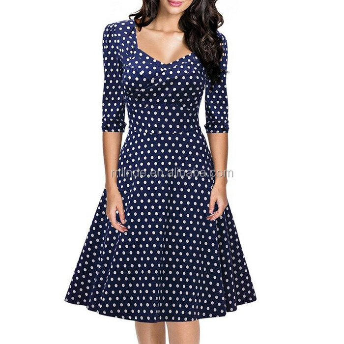 Women's Fashion Contrast Slim Style Zipper Retro Polka Dot Half Sleeve Vintage Smart Swing Dress For Ladies China Import