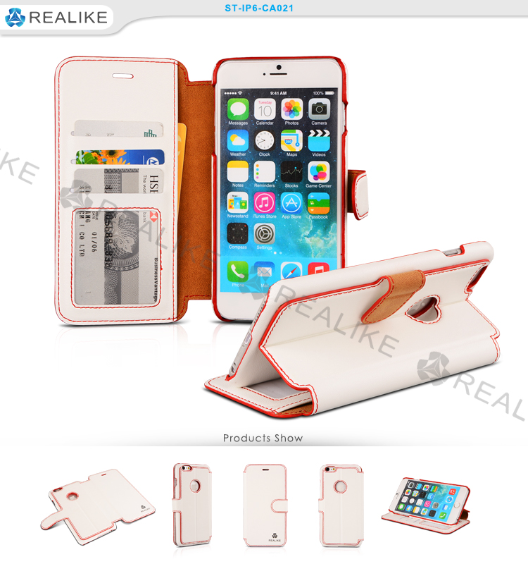 For iphone 6 real leather cell phone wallet best quality case
