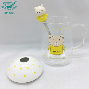 Promotional high quality office borosilicate tea glass drinking glass cup