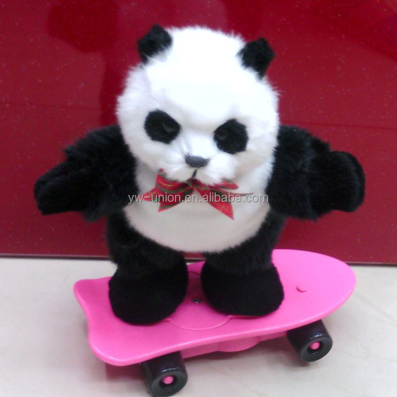 gentle panda with scooter electric plush toys