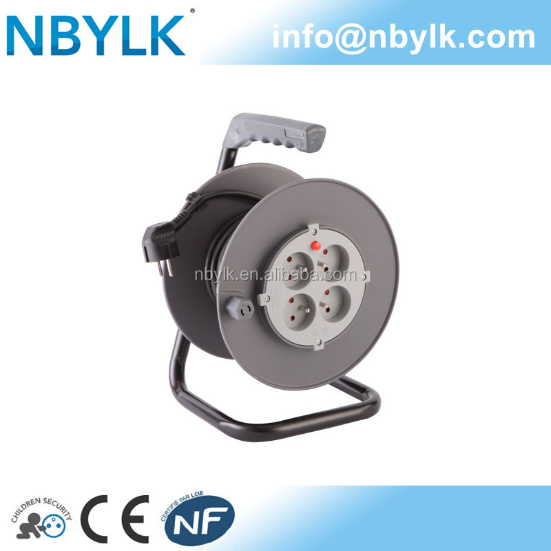 NF CE French Cable Reel Plastic Extension Cable Reel with over heat protection