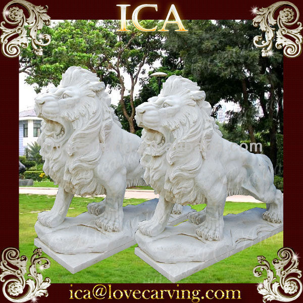 White marble hand carved lion animal stone