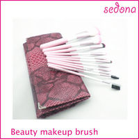 11pcs pink synthetic make up brushes with case,portable makeup/cosmetic brush set with leopard bag,leopard makeup brush set