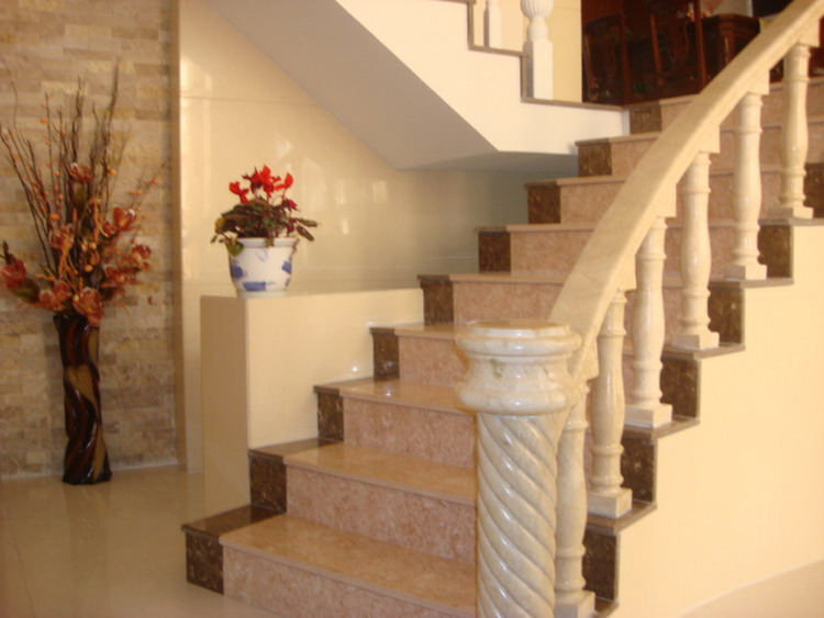 Factory wholesale design well marble stone handrail stairs