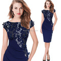 OEM fashion latest ladies middle age summer bodycon sexy embroidered dress for wholesale