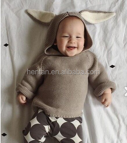 rabbit ear knitted baby sweater design