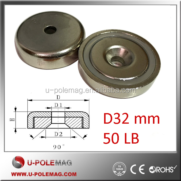 "1.26"" Dia Strong NdFeB Neodymium Cup Magnet with Countersunk Hole"