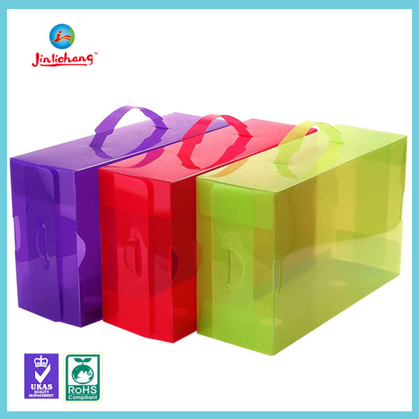 Custom high quality drop front shoe box, clear plastic shoe box packaging