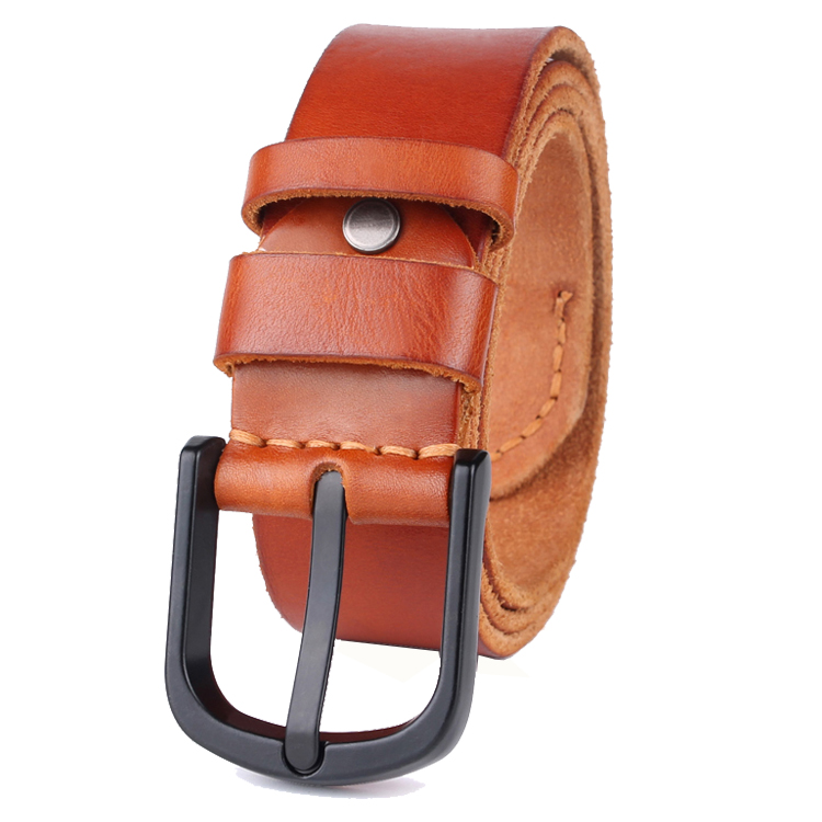Italy Genuine Leather Belts For Men With Black Matte Pin Buckle In 38mm Straps YDP146