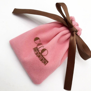 Pink Rings and Bracelet OEM Brand velvet pouch in packaging bags