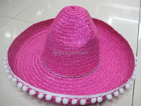 pink mexico straw sombrero hat with white pom pom for ladies