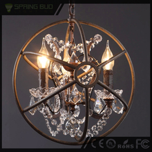 Rustic style loft American wrought iron black metal ball shape vintage crystal pendant lamp