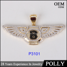 Fashion new design B wing shape hip hop 10k gold pendant setting diamonds jewerly