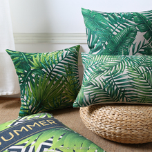 Hot sales Africa Tropical Plant printed pillow case Green Leaves digital printing pillow Decor sofa customise cushion covers
