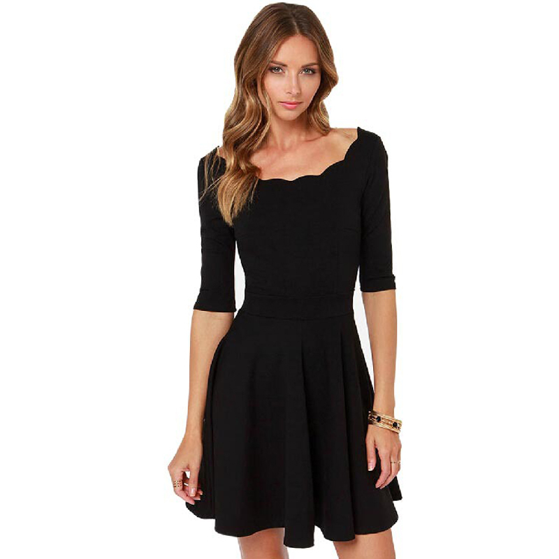 Cheap Plus Size Black Dresses With 3 4 Sleeves Find Plus Size Black