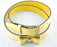 China feature colorful mirror pu leather belt with bowknot on band