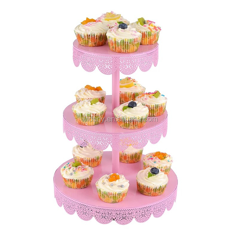 3 tier Foldable wedding birthday party decorative metal wire folding mini candy fancy individualup cake cupcake stand