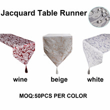 High Quality Damask Table Runner with tassel Jacquard fabric Table runner dinning room decoration table runner13*72inch red