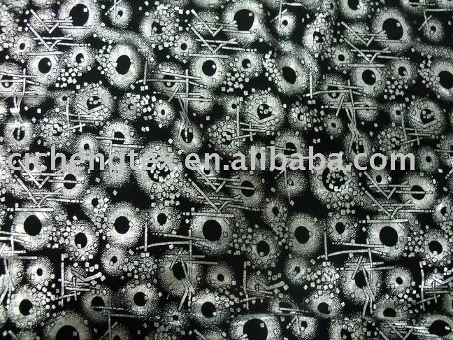 95/5 polyester/span silver foil printed knit jersey fabric
