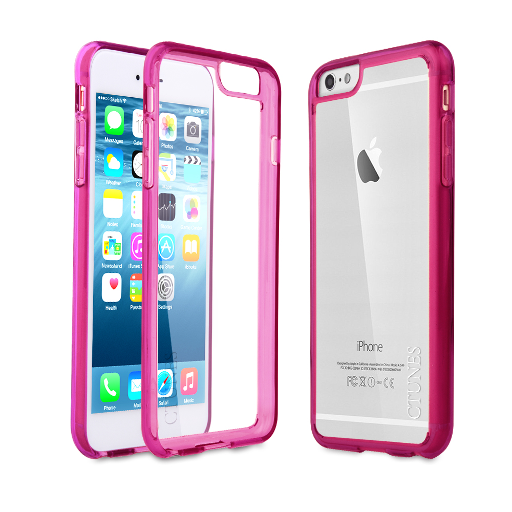 C&T Flexible soft gel tpu bumper slim transparent hard pc plastic back clear case cover for iphone 6s