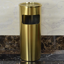 Lobby standing stainless steel litter bin with ashtray