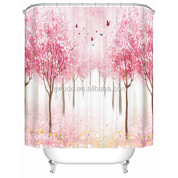 Pink woods and butterfly printing home design flame retardant shower curtain