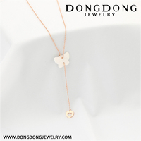 010 fashion ceramic butterfly rose gold plated stainless steel hollow heart necklace body jewelry