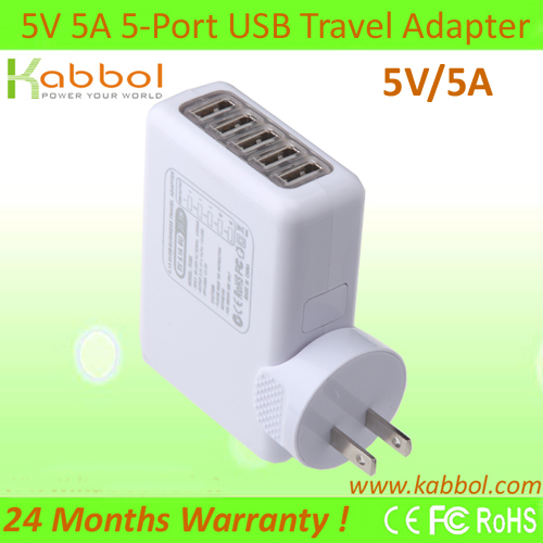 5V/5A 25Watt USB Wall Adaptor+ 5 port USB to AC Wall Charger for Samsung Galaxy Tabs, Galaxy S4, S3, S2, Galaxy Note4, 3, 2;