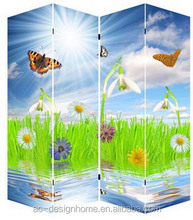COLORFUL DAISY AND BUTTERFLY 4 PANEL CANVAS/WOODEN FOLDING LED ROOM DIVIDER