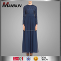 China OEM Service Muslim Women Prom Maxi Dress Navy Blue Elegant Islamic Chiffon Abaya