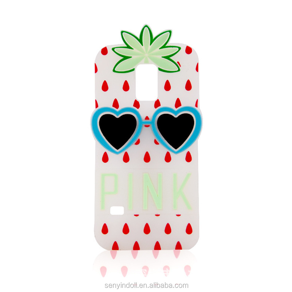 Customize Strawberry Dot Fruit White Rubber 3D Silicone Cell Phone Covers