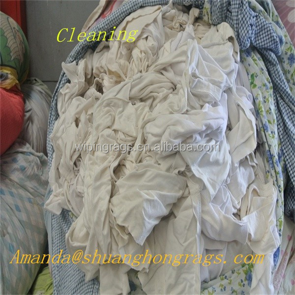 White color recycled t shirt cotton rags