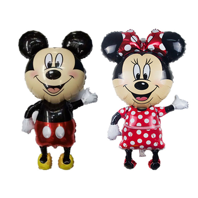 Large 112*64 cm Minnie Mickey foil balloons red Bowknot standing mouse Polka dot wedding birthday party decor supplies globos