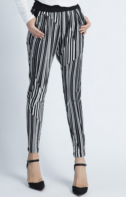 Latest fashion women pants vertical stripe ladies pants