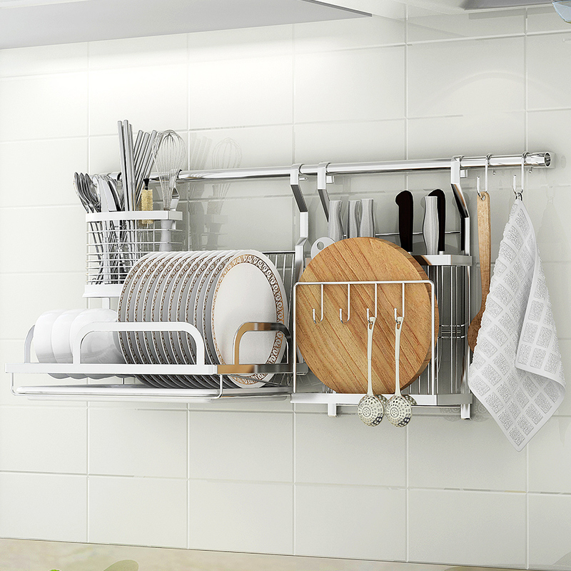 XM_447A 304 Stainless Steel Wall Mounted Kitchen Display dish Rack cutting board rack