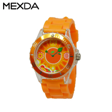 Oem high quality cute 3ATM Japanese movement luxury orange quartz silicone watche for sale