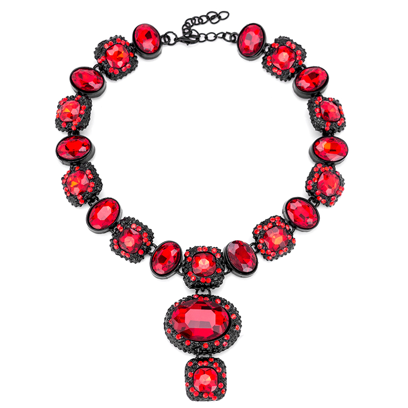 2017 Red Gemstone Luxurious Necklace Jewelry For Women