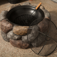 Popular 26inch Round River Rock Look Outdoor Fire Pit/fire ring w/Free Spark Guard and Poker